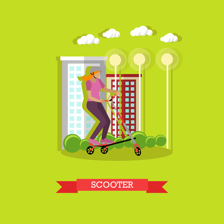 active lifestyle: Young girl riding on kick scooter in helmet in the city. Sports equipment. Active lifestyle. flat design Illustration