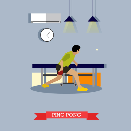 fulfill: table tennis player trains in the club. Table tennis master fulfills his skills with paddle and ball. Vector illustration in flat design