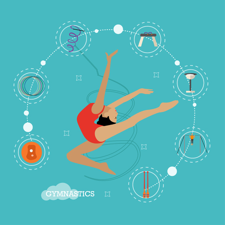 Vector concept illustration of rhythmic and artistic gymnastics. Design elements and icons in flat design. Female gymnast with sport equipment, hoop, clubs, ball, ribbon, pommel, chalk and bar Vettoriali