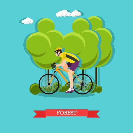 Vector illustration of cyclist riding on bike in the forest. Sports equipment, helmet, gloves, glasses, sneakers and bicycle. Forest landscape. Flat design Illustration