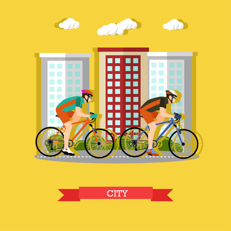 Vector illustration of two cyclists riding on bikes in the city. Sports equipment, helmet, gloves, glasses, sneakers and bicycles. City landscape. Flat design
