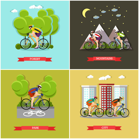 active lifestyle: Vector set of places where you can ride bike. City, forest, park and mountains cycling. Active lifestyle. Flat design