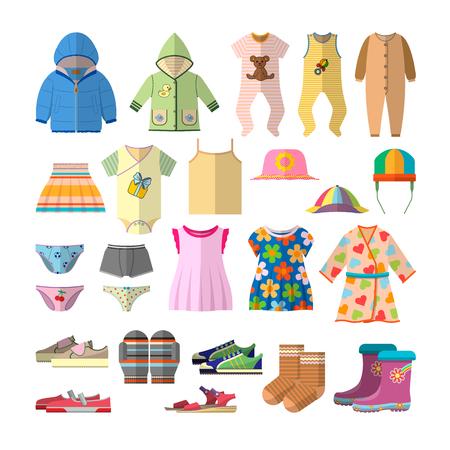 Vector conjunto de ropa de bebé en estilo plano. Ropa para niños colección de iconos y elementos de diseño.