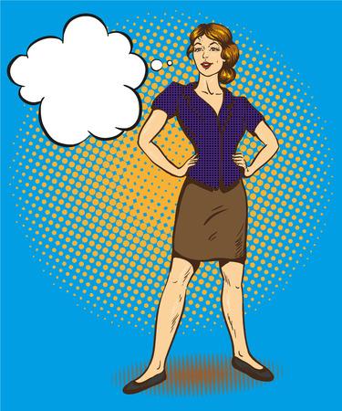 Woman standing in confident position retro comic pop art vector illustration. Speech bubble.