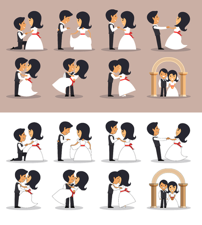married couples: Just married couples in different poses. Vector illustration in flat style. Design elements and icons isolated on white background. Wedding couple silhouettes.