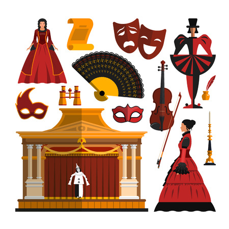 Vector set of theater object isolated on white background. Design elements and icons in flat style. Mask, dress, stage, actress. Illustration