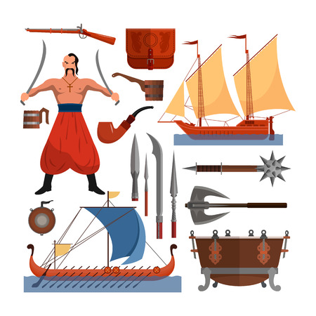 Vector set of Cossacks objects, icons and design elements in flat style. Cossack man, weapons, boats, drum. Illustration
