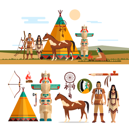 powow: Vector set of American indian tribal objects, icons and design elements in flat style. Male and female indian, totem and fire place. Illustration