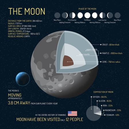 The Moon detailed structure with layers vector illustration. Outer space science concept banner. Moon infographic elements and icons. Education poster for school. Illustration