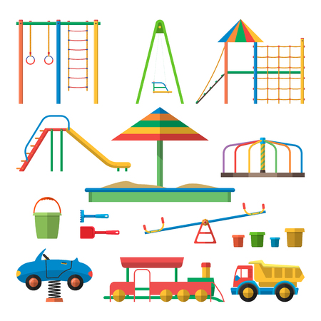 Kids playground vector illustration with isolated objects. Children design elements and icons in flat style.