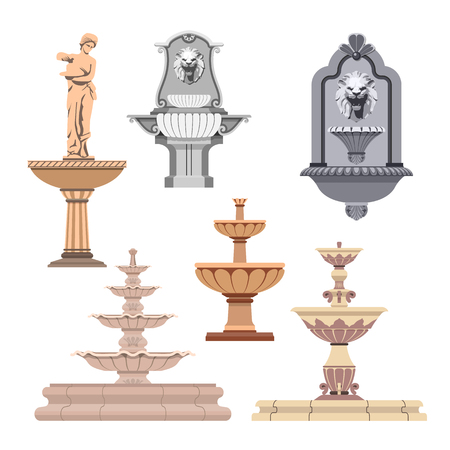 Vector set of different fountains. Design elements and icons. Illustration