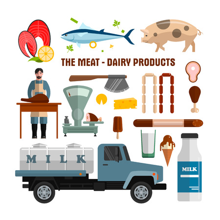 Meat and dairy products vector objects isolated on white background. Food design elements and icons in flat style. Fish, meat, milk tank.