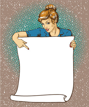 poster art: Woman holds blank white paper poster. Pop art comic retro style vector illustration. Put your own text template.
