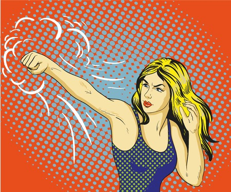 woman fist: Young beautiful business woman punching and boxing. Concept vector poster in retro comic pop art style.