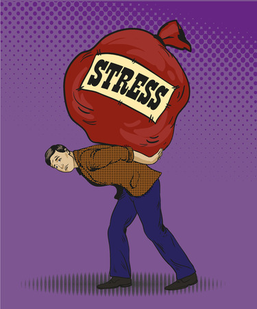 exhausted: People in stress situations concept vector illustration in retro pop art style. Man carrying big bag with stress sign. Comic design. Illustration