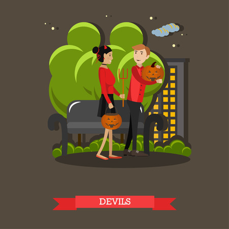 design costume: Couple in devils costume. Happy halloween holiday concept poster. Vector illustration in flat style design. Illustration