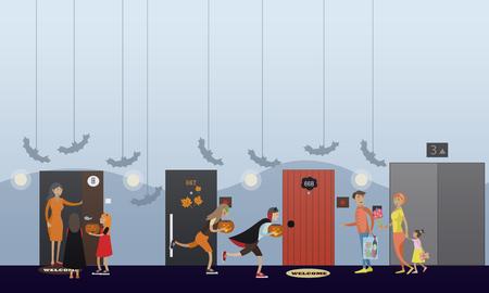 Enfants jouant tour ou traiter. Bonne fête de halloween concept de soirée bannière. Vector illustration dans la conception de style plat.