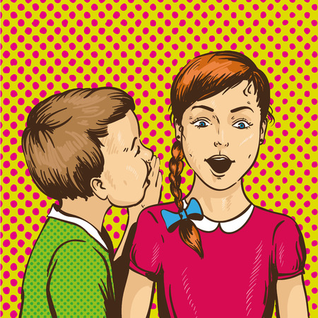 Pop art retro comic vector illustration. Kid whispering gossip or secret to his friend. Children talk to each other. Illustration