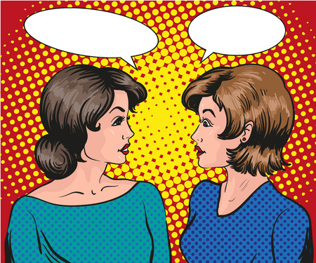 Pop art retro comic vector illustration. Two woman talk to each other.