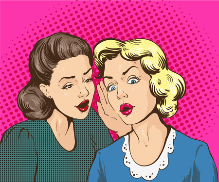 Pop art retro comic vector illustration. Woman whispering gossip or secret to her friend. Illustration