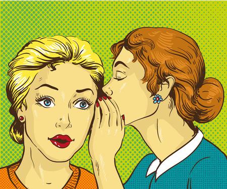 Pop art retro comic vector illustration. Woman whispering gossip or secret to her friend. Illustration