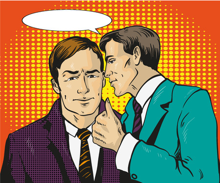 Pop art retro comic vector illustration. Two businessman talk to each other. Man tell business secret to his friend. Speech bubble.