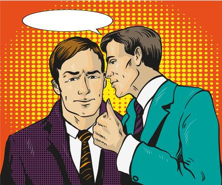 Pop art retro comic vector illustration. Two businessman talk to each other. Man tell business secret to his friend. Speech bubble.