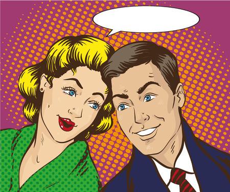 Ilustración del vector en estilo del arte pop. La mujer y el hombre hablar el uno al otro. cómic retro. Chismes y rumores conversaciones.
