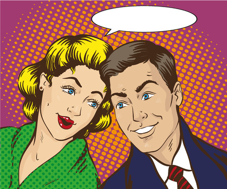 Vector illustration in pop art style. Woman and man talk to each other. Retro comic. Gossip and rumors talks.