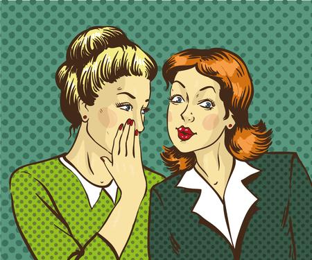 Pop-Art Retro Comic-Vektor-Illustration. Frau flüstert Klatsch oder Geheimnis zu ihrem Freund. Vektorgrafik
