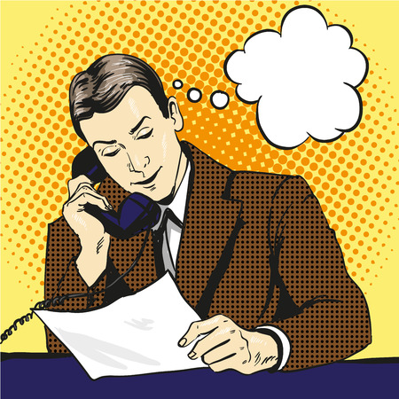 business phone: Businessman talking by phone and reading documents. Vector illustration in retro pop art comic style.