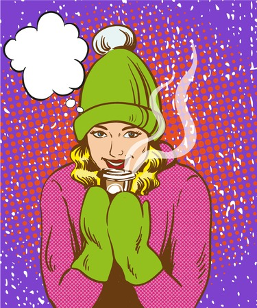 warm up: Beautiful girl in warm hat and gloves holding hot drink. Winter warm up concept in retro comic pop art style. Illustration