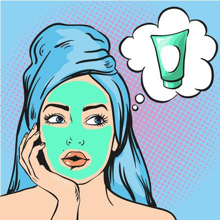 Vrouw met schoonheid cosmetische masker op het gezicht. Vector illustratie in pop art komische stijl.