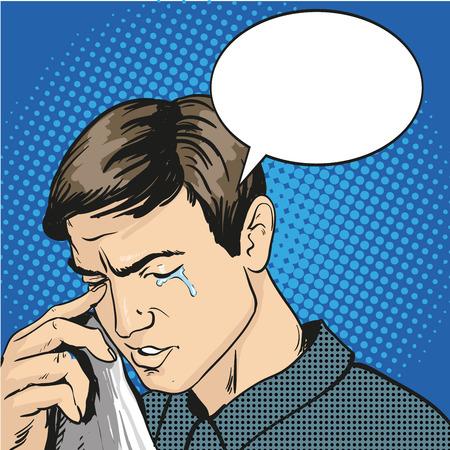 Uomo stressato e pianto. Illustrazione vettoriale in stile retrò comic pop art. Vettoriali