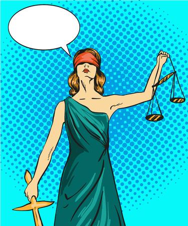 Standbeeld van de god van rechtvaardigheid Themis. Femida met balans en zwaard. Vector illustratie in pop-art comic retro stijl. Law and juridisch begrip.