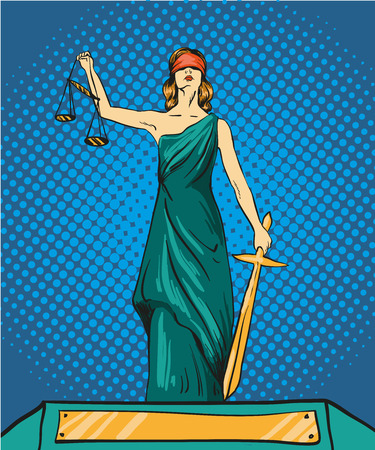female judge: Statue of god of justice Themis. Femida with balance and sword. Vector illustration in pop art comic retro style. Law and legal concept.