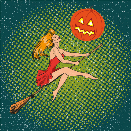 causal: Halloween concept vector poster in retro comic pop art style. Witch girl flying on a broomstick on pumpkin moon.