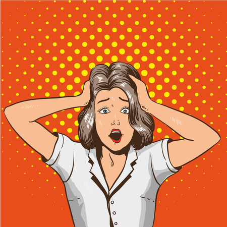 bad news: Woman in panic. Vector illustration in pop art retro style. Stressed girl in shock grabs her head in hands.