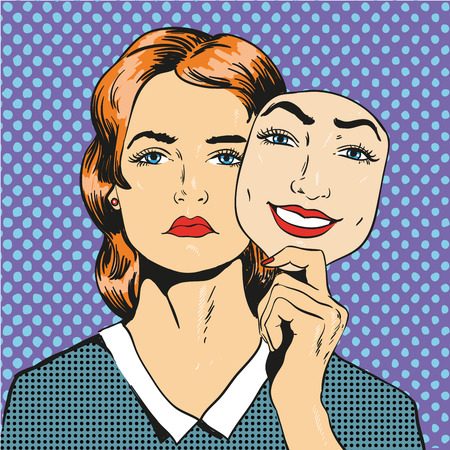 fake mask: Woman with sad unhappy face holding mask with a fake smile. Vector illustration in comic retro pop art style.