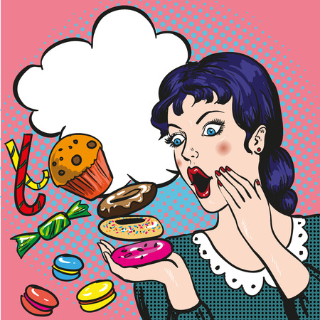 Woman with sweets, candy and cakes. Vector illustration in retro comic pop art style.