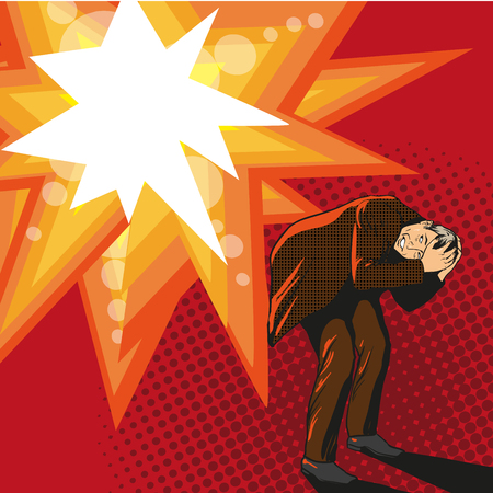 hide: Man trying to hide from explosion. Vector illustration in pop art style Illustration