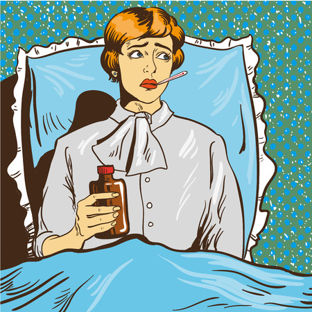 to lie: Sick woman with fever lie down on a bed in hospital room. Girl with thermometer in her mouth. Vector illustration in pop art comic style.