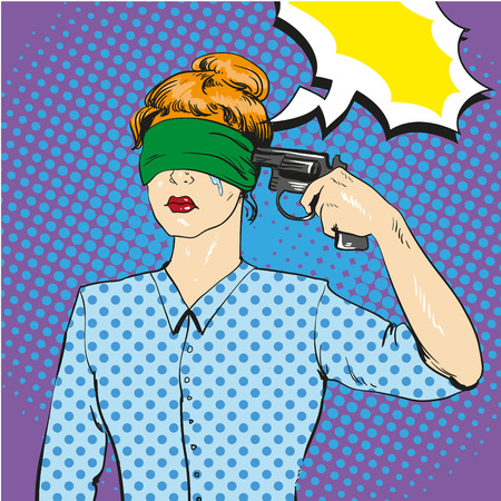 Woman with tied eyes put gun to her head in attempt of suicide. Vector illustration in retro comic pop art style. Playing russian roulette concept.