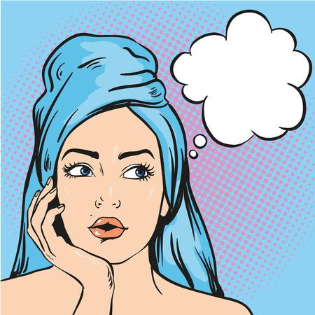 何かを考えてシャワー後の女性。ポップなアート コミック スタイルのベクトル図。
