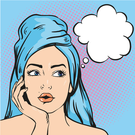 Woman after a shower thinking about something. Vector illustration in pop art comic style.