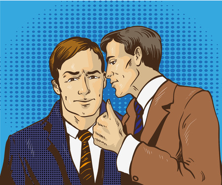 two friends talking: Pop art retro comic vector illustration. Two businessman talk to each other. Man tell business secret to his friend. Speech bubble.
