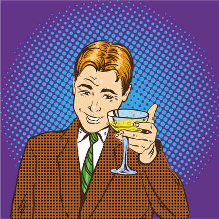 champagne pop: Business man with glass of champagne celebrates closed deal. Cheers and party concept vector illustration in retro pop art comic style.