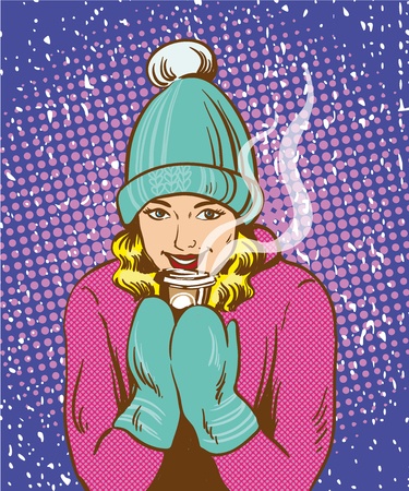 Beautiful girl in warm hat and gloves holding hot drink. Winter warm up concept in retro comic pop art style. Illustration