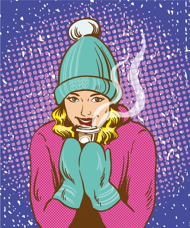 Hermosa chica en el sombrero y guantes calientes que llevan a cabo la bebida caliente. Invierno caliente concepto en el arte pop estilo cómico retro.