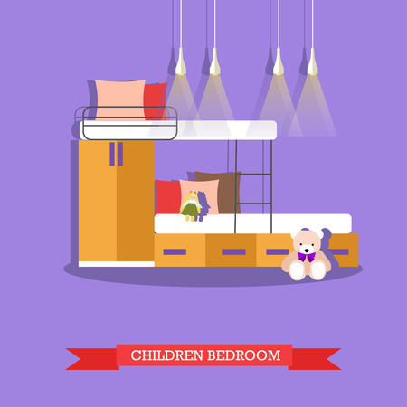 desk toy: Kids bedroom interior in flat style. Vector illustration. House room design elements and icons. Stock Photo